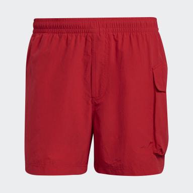 Men Y-3 Red Y-3 Utility Swim Shorts