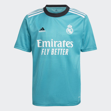 Camisola do Terceiro Equipamento 21/22 do Real Madrid Turquesa Criança Futebol