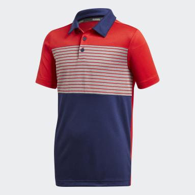 Youth Golf Blue Engineered Stripe Polo Shirt