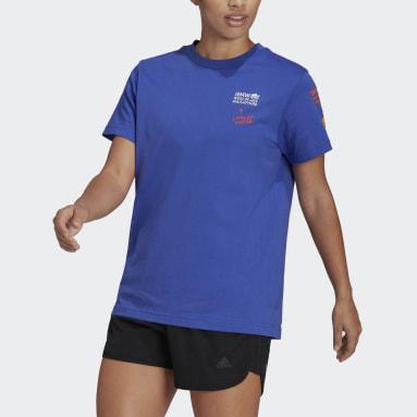 Kvinder Løb Blå Berlin Marathon Running Graphic T-shirt