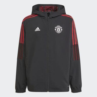 Kids Football Black Manchester United Tiro Presentation Jacket