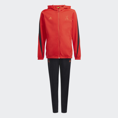Youth 8-16 Years Gym & Training Red X Football-Inspired Tracksuit