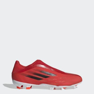 Chuteira Sem Cadarços X Speedflow.3 Campo Vermelho Futebol