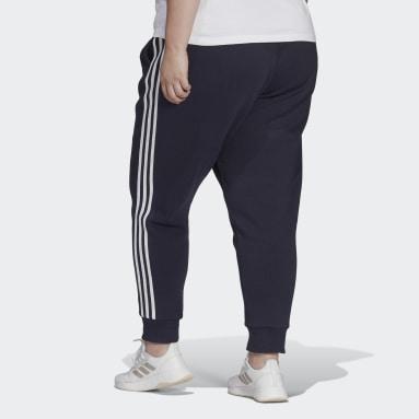 черный Флисовые брюки Essentials 3-Stripes (Plus Size)