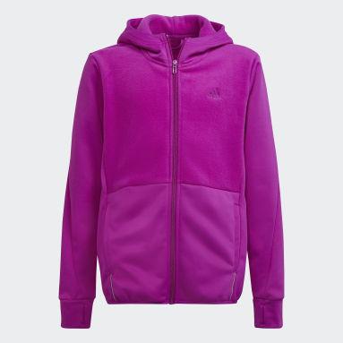 Børn Fitness Og Træning Pink Designed to Move Fleece kønsneutral hættetrøje