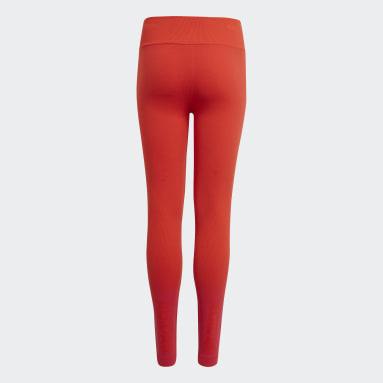 Girls Gym & Training Red Aeroknit AEROREADY Training Seamless Fitted Leggings