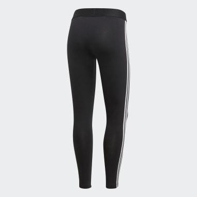 Licras Essentials 3 Rayas - Pretina Baja Negro Mujer Diseño Deportivo