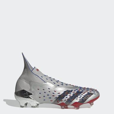 Men Soccer Silver Predator Freak+ Firm Ground Cleats