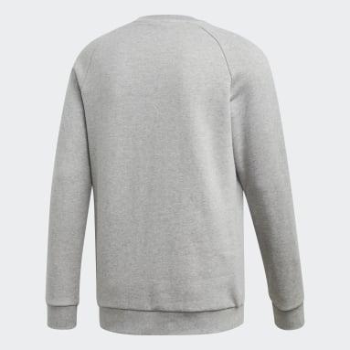 Men Originals Grey LOUNGEWEAR Trefoil Essentials Crewneck Sweatshirt
