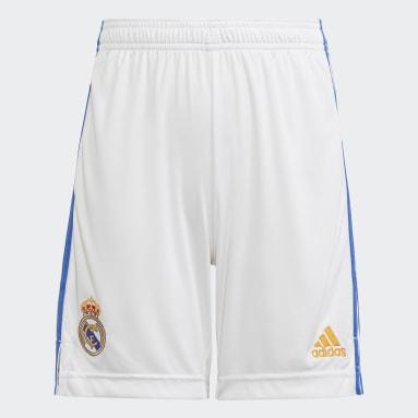 Calções Principais 21/22 do Real Madrid Branco Criança Futebol