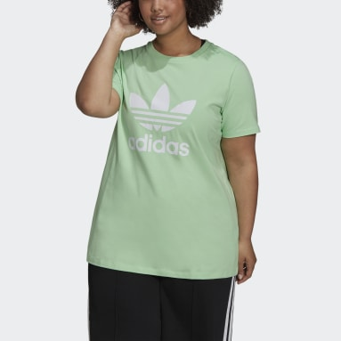Women's Originals Green Adicolor Classics Trefoil Tee (Plus Size)