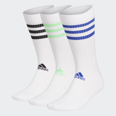 Sports 3-Streifen Cushioned Crew Socken, 3 Paar Weiß