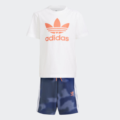 Çocuklar Originals Beyaz Camo Print Şort ve Tişört Takımı