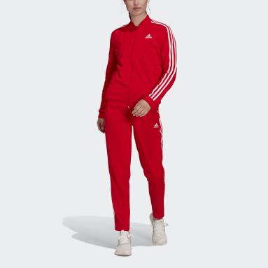 Buzo Essentials 3 Tiras Rojo Mujer Diseño Deportivo