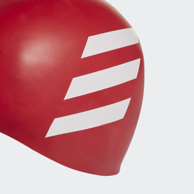 Swimming Red 3-Stripes Swim Cap
