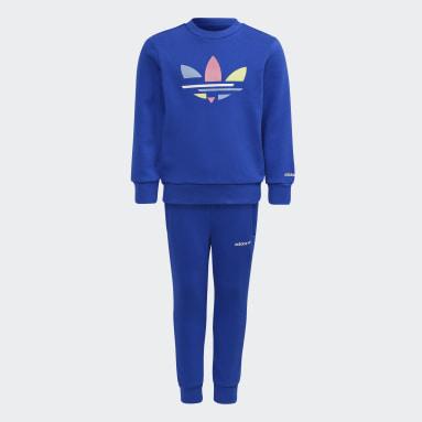 Conjunto sudadera cuello redondo y pantalón Adicolor Azul Niño Originals
