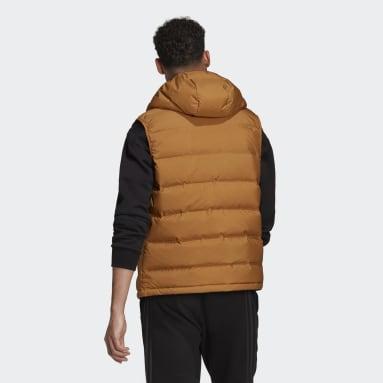 Men City Outdoor Brown Helionic Hooded Down Vest