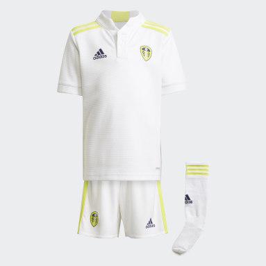 Kinder Fußball Leeds United FC 21/22 Mini-Heimausrüstung Weiß