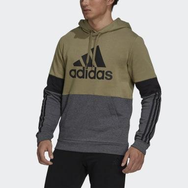 Men Sport Inspired Green Essentials Fleece Colorblock Sweatshirt