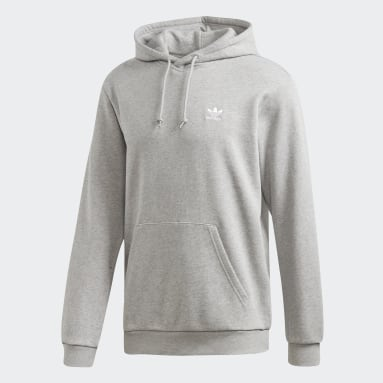 Men Originals Grey LOUNGEWEAR Trefoil Essentials Hoodie