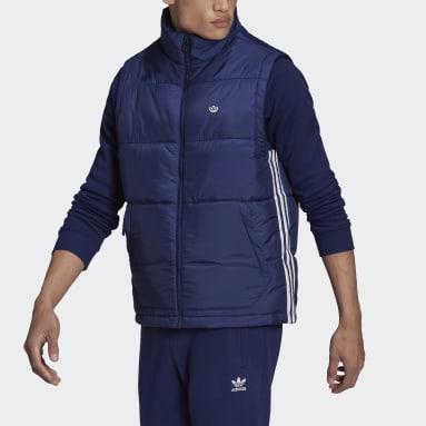 Men Originals Blue Padded Stand-Up Collar Puffer Vest