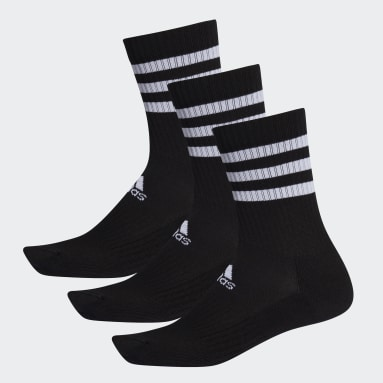 Tennis Black 3-Stripes Cushioned Crew Socks 3 Pairs