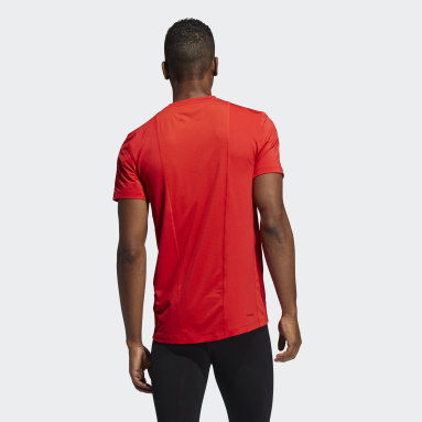 Men Running Red Techfit Compression Short Sleeve Tee