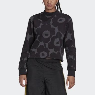 Women Originals Black Marimekko Sweatshirt with Allover Print