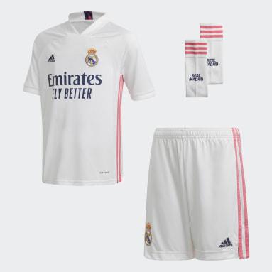 Conjunto primera equipación Real Madrid 20/21 Blanco Niño Fútbol