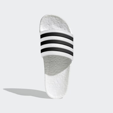 adilette Boost Slides Bialy
