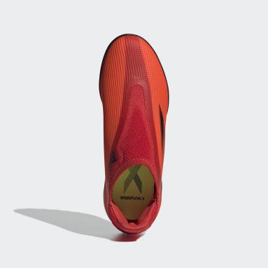 Calzado de Fútbol X Speedflow.3 Sin Cordones Pasto Sintético Rojo Niño Fútbol
