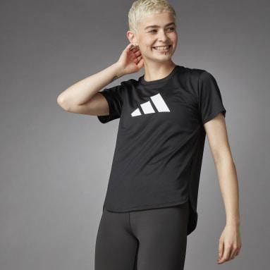 Women Training Black 3 Bar Logo Tee