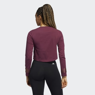 Women's Sportswear Burgundy Holiday Graphic Cropped Long Sleeve Tee