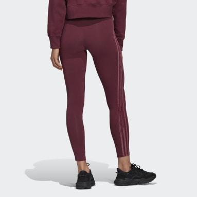 Women Originals Burgundy Leggings with Velvet Stripes and Trefoil Rivet