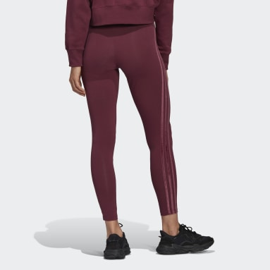 Women's Originals Burgundy Tights with Velvet Stripes and Trefoil Rivet