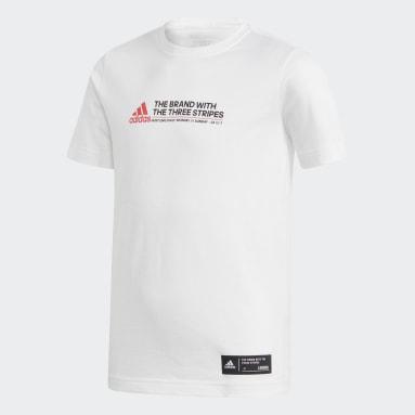 T-shirt London Bus Hustle Blanc Garçons Fitness Et Training