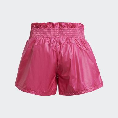 Girls Training Pink Primegreen Dance Move Comfort Loose Shiny Shorts