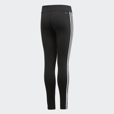 Girls Yoga Black Training Equipment 3-Stripes Leggings