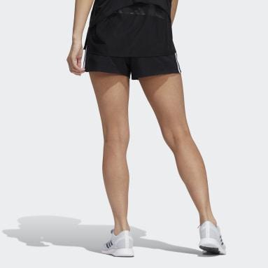 Women Training Black Pacer 3-Stripes Shorts