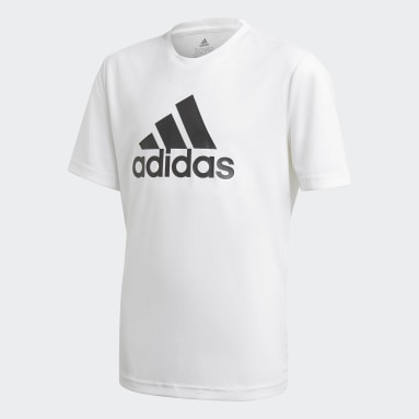 Boys Gym & Training White adidas Designed To Move Big Logo Tee