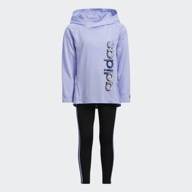Children Training Purple Mélange Hooded Top and Tights Set
