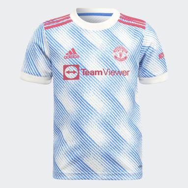 Children Soccer White Manchester United 21/22 Away Mini Kit