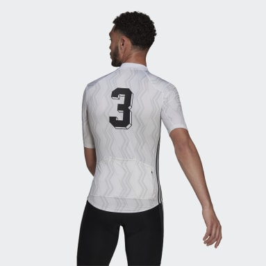 Maillot - Camiseta de Ciclismo Manga Corta Estampada Blanco Hombre Ciclismo
