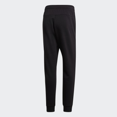Men Sportswear Black Essentials Plain Tapered Cuffed Joggers