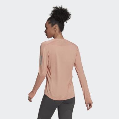 T-shirt Own the Run Long Sleeve Rose Femmes Running
