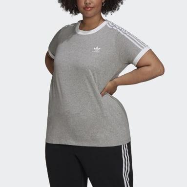 Women Originals Grey Adicolor Classics 3-Stripes T-Shirt (Plus Size)