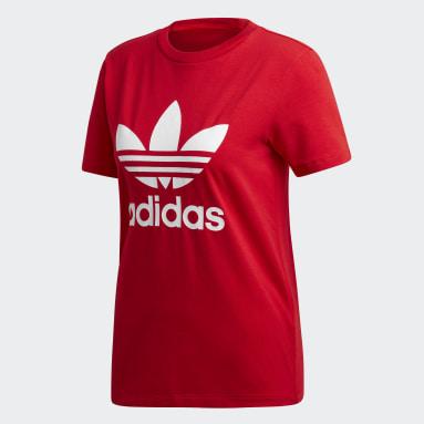 T-shirt Trefoil Rosso Donna Originals