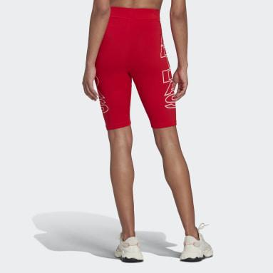 Mallas Cortas Letras Corte Medio Rojo Mujer Originals