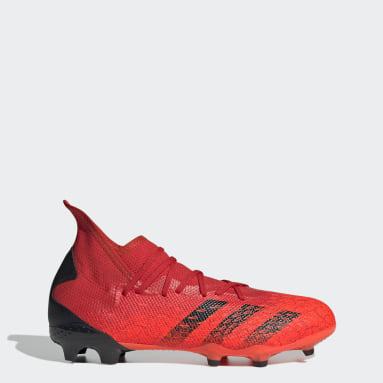 Chimpunes Predator Freak.3 Terreno Firme Rojo Hombre Fútbol