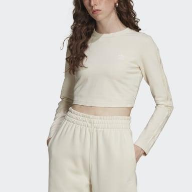 LOUNGEWEAR Cropped Long Sleeve T-skjorte Hvit